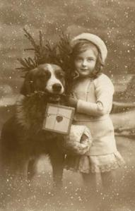 Girl & Dog - Postcardthumb