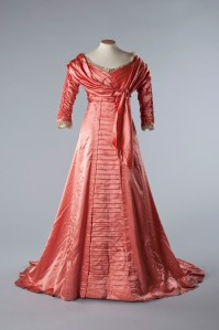 Silk satin evening gown, 1909. Image courtesy of the Olive Matthews Collection, Chertsey Museum. Photograph by John Chase.