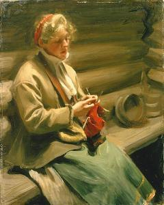 'Girl from Dalecarlia knitting' by Anders Zorn (1901)