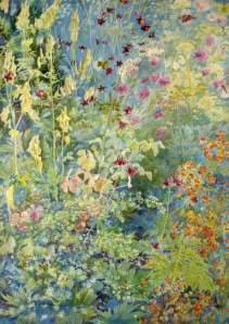 'Pink Aquilegia, Yellow Foxgloves, Cow Parsley' by Christiana Herringham (Royal Holloway)