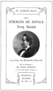 Programme cover for the December 1903 recital